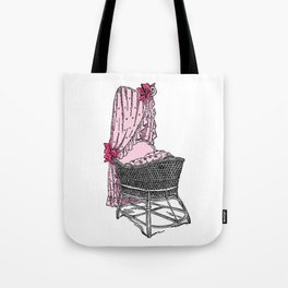 Retro Style Pink Baby Bassinet Tote Bag