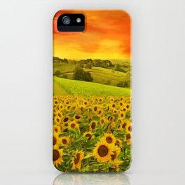 Tuscany Sunflower Fields and Vineyards Red Sunset Landscape iPhone Case