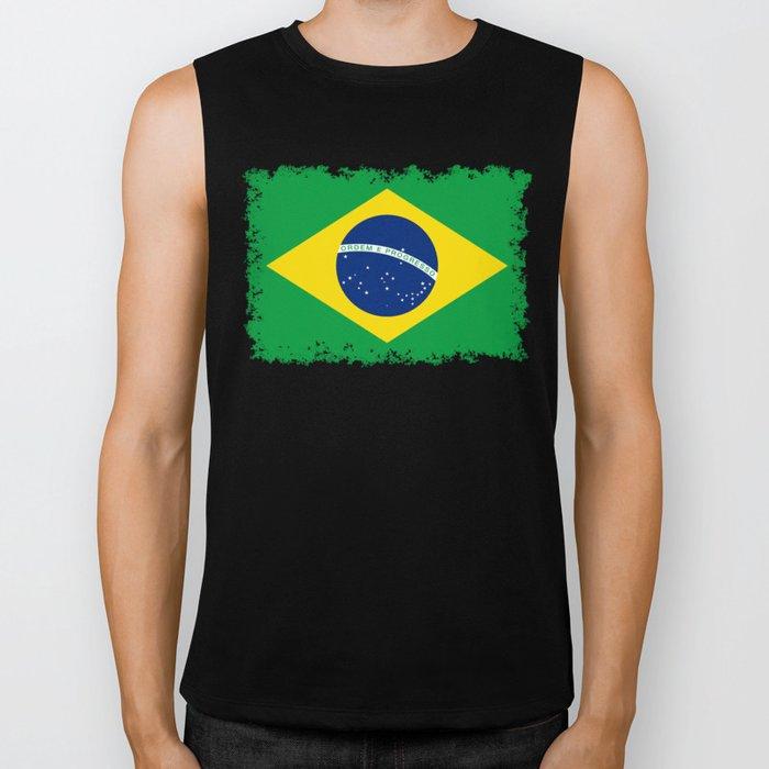 Flag of Brazil - Hi Quality Authentic version Biker Tank