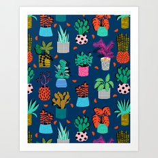 Check It - house plants indoor monstera neon bright modern pattern retro throwback memphis style Art Print