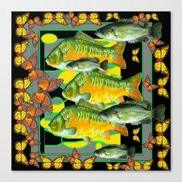 YELLOW & ORANGE MONARCH BUTTERFLIES FISH VIGNETTE Canvas Print