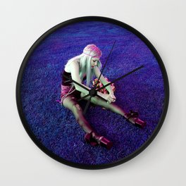 KT in Purple Blades Wall Clock