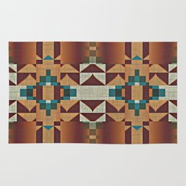 Native American Indian Tribal Mosaic Rustic Cabin Pattern Rug