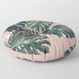 Pug with Monstera Leaf Floor Pillow