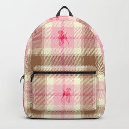 PINK PLAID WEIMARANERS Backpack