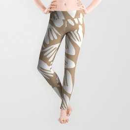 Papier Découpé Modern Abstract Cutout Pattern in White and Beige Birch Leggings