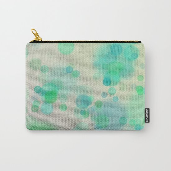 Painterly Blue and Green Circle Abstract Carry-All Pouch