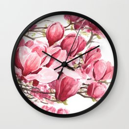 Watercolor Magnolia flowers Wall Clock