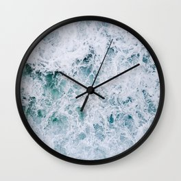 Waves in an abstract white and blue seascape Wall Clock