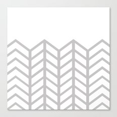 GRAY & WHITE LACE CHEVRON Canvas Print