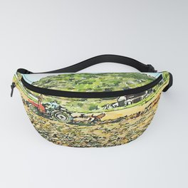 Hortus Conclusus: red tractor plow the field Fanny Pack