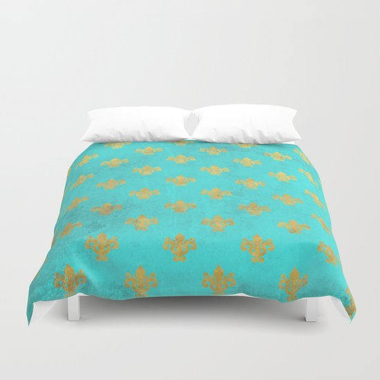 Queenlike on aqua I  Gold Heraldy elements on turquoise backround Duvet Cover