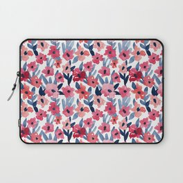 Layered Watercolor Floral Pink and Navy Laptop Sleeve