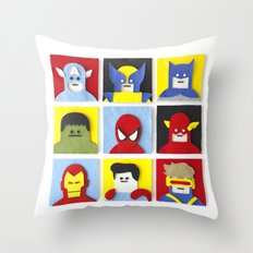 Felt Heroes Throw Pillow