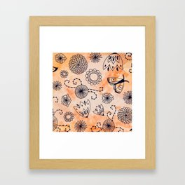 Orange Watercolor Ink Pattern Framed Art Print