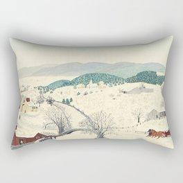 Anna Mary Robertson 'Grandma' Moses To Grandma's House We Go on Thanksgiving Day Folk Art Rectangular Pillow