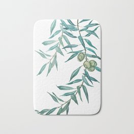 green olive leaf watercolor Bath Mat