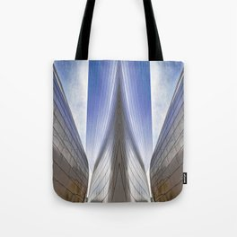 Architectural Abstract of a metal clad building looking skyward Tote Bag