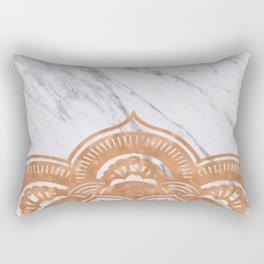 Copper mandala on marble Rectangular Pillow