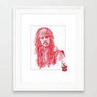 jack sparrow Framed Art Prints featuring Captain Jack Sparrow by Cassie's Wonderland