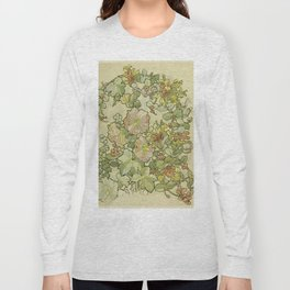 """Alphonse Mucha """"Printed textile design with hollyhocks in foreground"""" Long Sleeve T-shirt"""