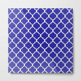 Moroccan Trellis (White & Navy Blue Pattern) Metal Print