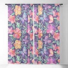 Summer Blooms & Butterflies on Dark Purple Sheer Curtain