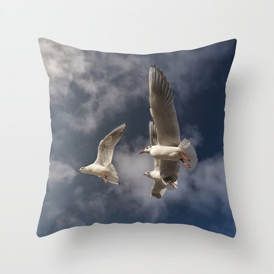 Newport Throw Pillows Birds : Sea-gulls Birds Animal in flight Throw Pillow by UtArt Society6