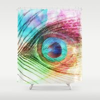 peacock feather Shower Curtains featuring Peacock Feather by Klara Acel