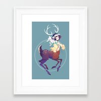 fawn Framed Art Prints featuring Fawn by Stephanie Kao