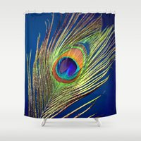 peacock feather Shower Curtains featuring peacock feather by mark ashkenazi