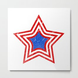 Patriotic Vintage Star Blue Center Red and White Stripes Metal Print