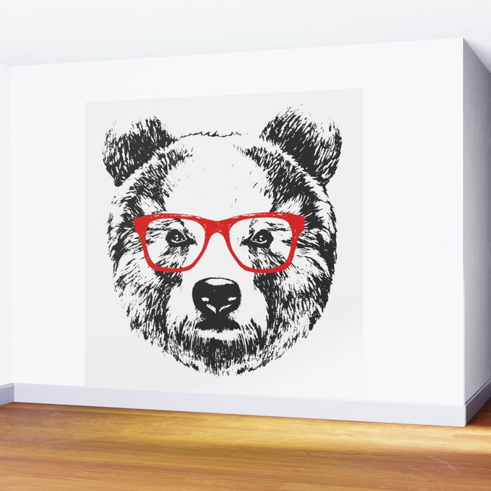Portrait of Bear with glasses. Wall Mural