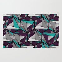 arya Area & Throw Rugs featuring Hexagonal graphic lines - darker by Hinal Arya