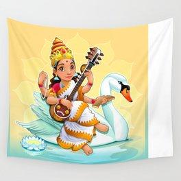 Sarasvati, Hindu goddess of knowledge, arts and learning. Wall Tapestry