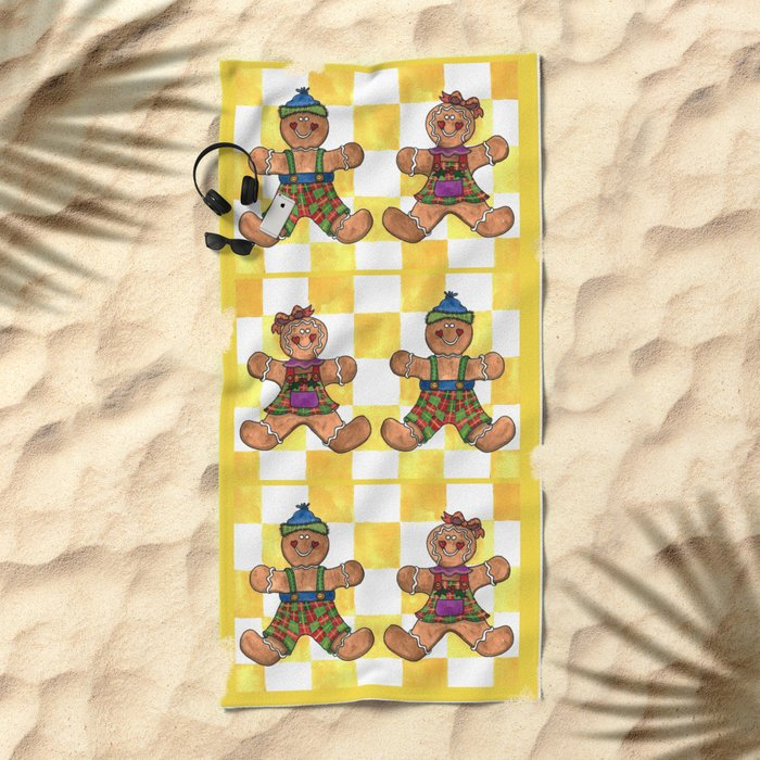 The Gingerbread Twins Beach Towel