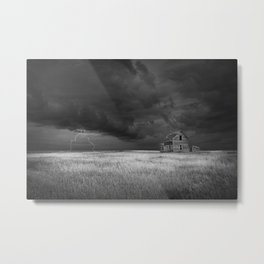 Thunderstorm on the Prairie in Black and White Metal Print