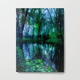 Enchanted Forest Lake Green Blue Metal Print