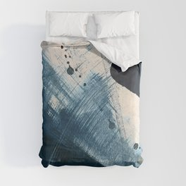 Against the Current [2]: A bold, minimal abstract acrylic piece in blue, white and gold Comforters