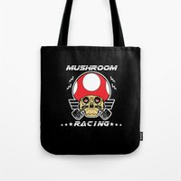 mario kart Tote Bags featuring Mushroom racing mario kart by Buby87