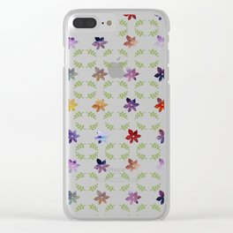 Abstract modern colorful watercolor lavender floral illustration Clear iPhone Case