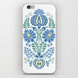 Moravian Folk Design Blue iPhone Skin