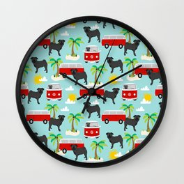 Pug black and white mini van hippie surfing surfer dog breed dog pattern dog art Wall Clock