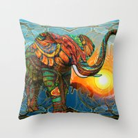 colorful Throw Pillows featuring Elephant's Dream by Waelad Akadan