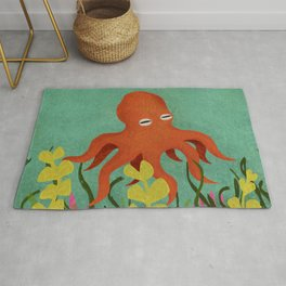 Curious Little Red Octopus Rug