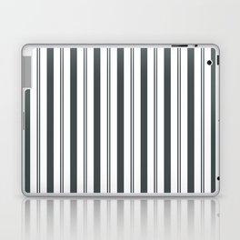 PPG Night Watch Pewter Green & White Wide & Narrow Vertical Lines Stripe Pattern Laptop & iPad Skin