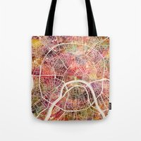 moscow Tote Bags featuring Moscow Map by MapMapMaps.Watercolors