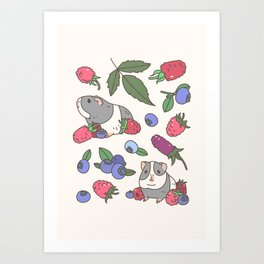 Guinea Pig Pattern in Mint Green Background with mix berries Art Print