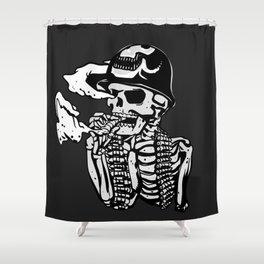 Military skeleton illustration - Soldier skull Shower Curtain