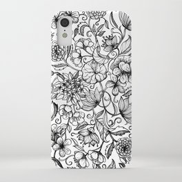 Hand drawn pencil floral pattern in black and white iPhone Case